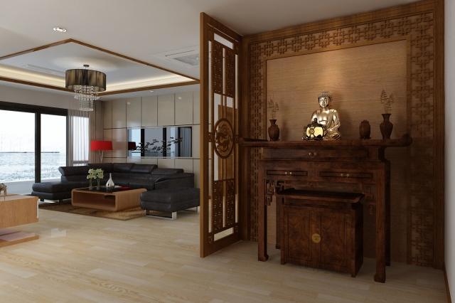 Những mẫu thiết kế phòng thờ trong phòng khách đẹp